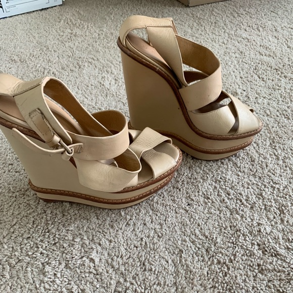 L.A.M.B. Shoes - LAMB Angela leather and wood wedge